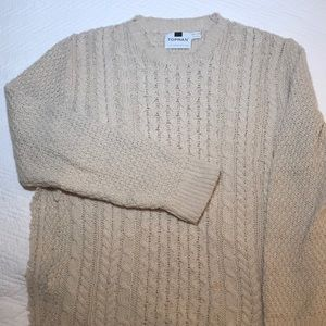 Topman Cable Knit Sweater in Beige Cream Ripped